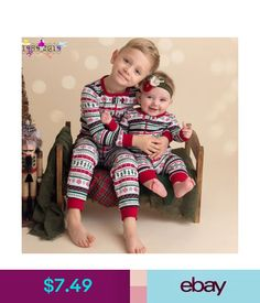 addaf28118 Newborn Infant Baby Boy Christmas Zipper Romper Jumpsuit Outfits Brother  Clothes  ebay  Fashion