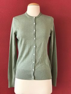 NWT BROOKS BROTHERS Green Metallic Button Front Cardigan Sweater Size S $128 #BrooksBrothers #Cardigan
