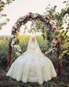 Image may contain: 1 person Muslim Wedding Gown, Hijabi Wedding, Muslimah Wedding Dress, Groom Wedding Dress, Muslim Wedding Dresses, Muslim Brides, Wedding Couples, Bridal Dresses, Wedding Gowns