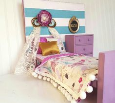 Bird Paisley 18 Inch Doll Bedroom Set 18 Inch Doll Bed Wooden Doll Bed Doll Furniture Doll