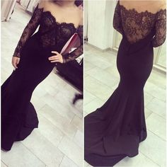 Sexy Mermaid Off-the-Shoulder Long Sleeves Sweep Black Lace Tulle Prom Dresses PD-30838