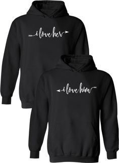 couple hoodies I love Her amp; Him - Couple Hoodies Couples Apparel Cute Couple Hoodies, Matching Hoodies For Couples, Fleece Hoodie, Hooded Sweatshirts, Pullover, His And Hers Hoodies, Couple Outfits, Funny Outfits, Family Outfits