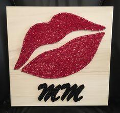 Lips String Art, Lipstick, Makeup - order from KiwiStrings on Etsy! www.kiwistrings.etsy.com