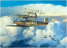 Aviation art by Alex Hamilton featuring Spitfires during the Battle of Britain Ww2 Aircraft, Fighter Aircraft, Military Aircraft, Fighter Jets, Aviation Theme, Aviation Art, The Art Of Flight, The Spitfires, Aircraft Painting