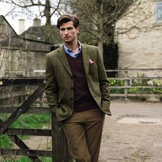 """""""Victorian"""" Complex Earth Olive Green, Brown trousers and a sweater vest makes for a ride in the countryside or an ntique business designer. Olive Saxony Tweed Classic Fit"""