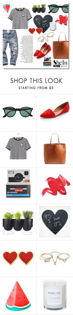 """""""she in"""" by dizzielizzie42 ❤ liked on Polyvore featuring Ray-Ban, Madewell, Topshop, Authentics, Lipsy and Sunnylife"""