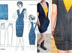 You are going to love this upside down jeans dress and it's a super easy DIY. Be sure to check out the denim apron and the denim skirt upcycle too. Clothes Refashion, Diy Clothing, Sewing Clothes, Jeans Refashion, Jeans Recycling, Recycle Jeans, Artisanats Denim, Jean Diy, Diy Kleidung