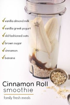 Cinnamon Roll Smoothie is great! Just imagine taking all the sweet, sticky, spicy indulgence of a fresh-baked cinnamon roll and cramming it into a glass. Family Fresh Meals, Protein Shake Recipes, Green Smoothie Recipes, Green Smoothies, Protein Shakes, Protein Smoothies, Baby Food Recipes, Pie Recipes, Dessert Recipes