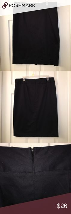 LANE BRYANT Black Pencil Skirt plus sz 14 This is a LANE BRYANT Black Pencil Skirt in a plus sz 14 with a back zip! Good used condition! I ship fast! Happy poshing friends! Lane Bryant Skirts Pencil