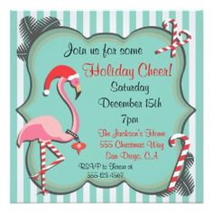 Shop Tropical Flamingo Christmas Party Invitation created by McBooboo. Personalize it with photos & text or purchase as is! Dinner Party Invitations, Christmas Party Invitations, Xmas Party, Holiday Parties, Holiday Cards, Christmas Cards, Christmas Ideas, Holiday Dinner, Invitation Ideas