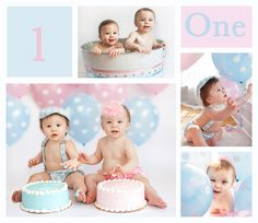 Boy girl twins cake smash session at one year old photography session at Willow Baby Photography in San Jose, Ca.