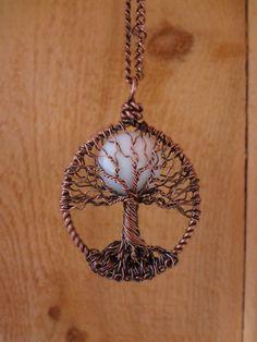 Tree of Life Necklace w White Jade Moon. $35.00, via Etsy.