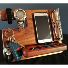 Kiaat Desktop Organization, Rustic Chic, Wood Paneling, The Office, Boyfriend, Husband, Personalized Items, Phone, Gifts