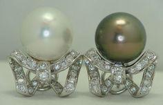 12MM PEARL & DIAMOND EARRINGS