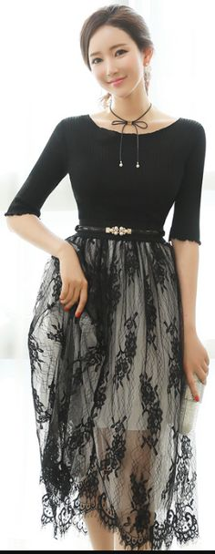 StyleOnme_See-through Floral Lace Full Skirt #black #seethrough #sheer #floral #lace #skirt #koreanfashion #springtrend #seoul #kstyle #feminine #pretty #dailylook