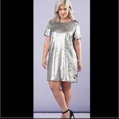Plus Size Sequin Shift Dress Shift dress with v-back Forever 21 Dresses