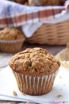 Oatmeal Spice Muffins ~ perfectly spiced with crunchy tops and pillowy centers, making them a wholesome, delicious breakfast on-the-go or anytime snack!   FiveHeartHome.com