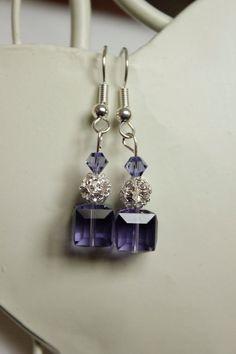 Purple Drop Crystal Earrings Swarovski Elements