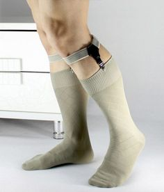 1 pair Sexy gray stripe Double Clip Women Men Thick Thin Sock Garter Suspender Dress suit