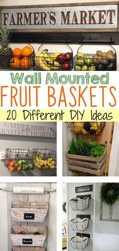 Let's Make Hanging Fruit Baskets! Easy Pallet Projects to Try! DIY fruit and vegetable storage baskets ideas - DIY hanging fruit basket for your kitchen wall for more storage and counterspace Wall Basket Storage, Kitchen Wall Storage, Baskets On Wall, Kitchen Organization, Baskets For Storage, Wall Hanging Storage, Bathroom Storage, Fruit And Vegetable Storage, Fruit Storage