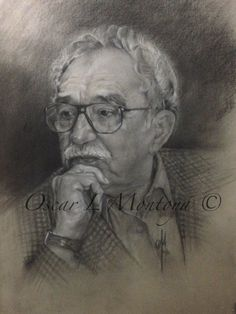 """""""Gabriel Garcia Marquez""""  Life Size. Charcoal and White Chock on toned paper. 16"""" x 20"""""""