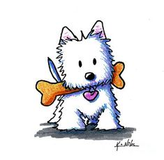 Kiniart Westie With Bone Art Print by Kim Niles