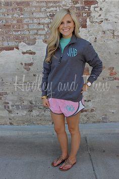 Monogrammed Quarter Zip Sweatshirt and Running Shorts Set