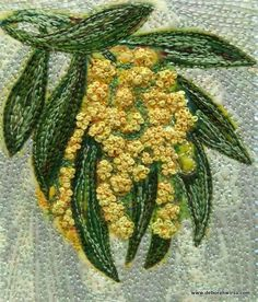 Homage to Wattle Stamp - micro quilt - digital imaging, collage and stitch Free Motion Embroidery, Free Machine Embroidery, Embroidery Applique, Embroidery Stitches, Embroidery Patterns, Thread Art, Thread Painting, Fabric Painting, Fabric Art