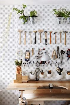 Pegboard storage in a home studio, Kim Victoria Jewels. Photo by Eve Wilson via The Design Files Garage pegboard and plywood Garage Organization Tips, Studio Organization, Organizing Ideas, Organising, Workbench Organization, Organizing Jewelry, Ikea Organization, Organizing Life, Pegboard Storage