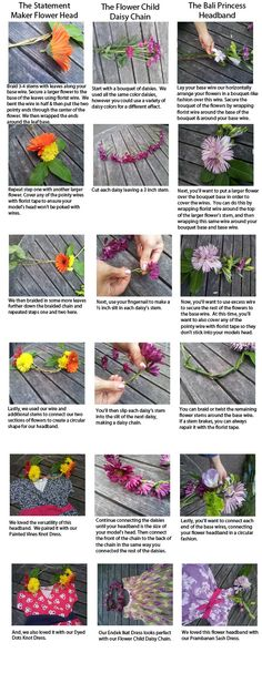 DIY: How to make your own flower headband out of real flowers. Flower Headbands, Summer Headbands, Flower Crowns, Flower Crown Tutorial, Tie Dye Party, Flower Making, Flower Diy, Crafts For Kids, Diy Crafts