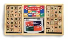 Alphabet Stamp Set.  When the interest in print kicks in, stamps are a fun toy and a simple way to become familiar with the shapes of the letters.