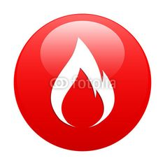 Vektor: button fire icon red