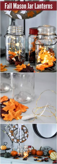 Step up your DIY fall decor with these super simple and pretty mason jar lanterns! They're quick and easy to put together and make a big statement!