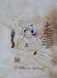 2 Scrap,quilt and stitch: Snow ladies Pillow Embroidery, Hand Embroidery Patterns, Cross Stitch Embroidery, Quilt Patterns, Embroidery Designs, Snowman Quilt, Primitive Stitchery, Christmas Embroidery, Mini Quilts