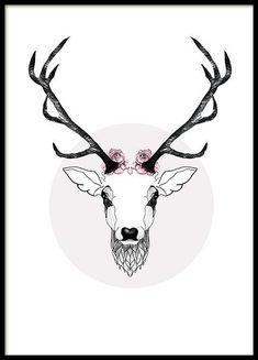 Nice poster of MHMP, deer with antlers and flowers. Hirsch Wallpaper, Deer Wallpaper, Hirsch Illustration, Deer Illustration, Pink Paris, Poster 40x50, Desenio Posters, Mode Poster, Deer Design