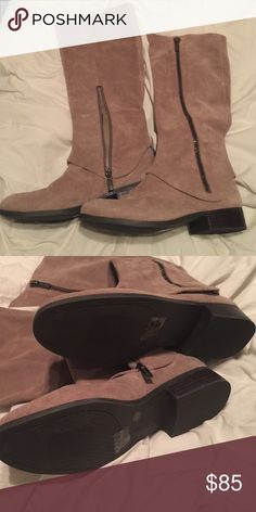 Jessica Simpson tall sauce boots Tall taupe suede boots. NWOT. Nice boots! Jessica Simpson Shoes Heeled Boots