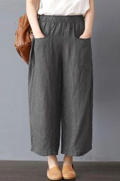 Only shop women stripe elastic waist wide leg pants at Buy fashion trousers pants online Banggood Mobile Only shop women stripe elastic waist wide leg pa. Linen Pants, Trouser Pants, Wide Leg Pants, Adidas Pants, Ankle Pants, Harem Pants, Fashion Pants, Fashion Outfits, Fashion Trends