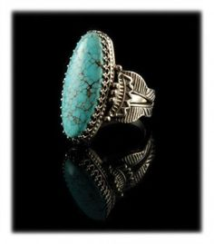Fred Harvey Style #8 Turquoise Ring by John Hartman