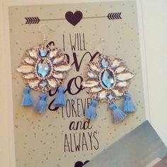 Handmade#t assels#earrings#crystal#blue
