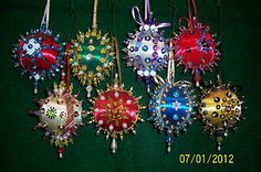 Christmas Satin Ball Handmade Ornaments Beaded Sequin Lot 8