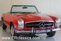1965 Mercedes-Benz, 230SL  Mercedes-Benz 230SL Pagode 1965 in very good condition   This is a 1965 Mercedes-Benz 230SL Pagode. The combination of red paint with the chrome is very chic. The black leather interior is in very good condition too and has 2 comfortable seats. The car has the original 2306CC, 6 cyl, 170 HP engine and manual gearbox. Technics in very good condition. This sporty but also chi ..  http://www.collectioncar.com/detailed.php?ad=64424&category_id=1