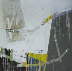 "Composition #306 - Ian MacLeod :: 36""x36"" - Acrylic, latex, paper, tape and varathane on canvas."
