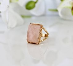 Valentine's Day Sale - pink gold ring,January birthstone ring,rose quartz ring,faceted gemstone ring,rectangle ring on Etsy, $63.20
