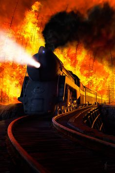 ♂ Fire behind train Hurry!