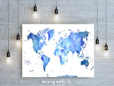 Gallery wrapped canvas giclee print with a paint splatter inspired world map large wall art print watercolor blues by maraquela gumiabroncs Choice Image