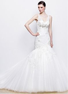 FABULOUS TULLE ORGANZA SATIN V-NECK NECKLINE NATURAL WAISTLINE WEDDING DRESS SEXY FORMAL PROM EVENING PARTY BRIDAL GOWN