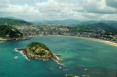 Zurriola Beach in San Sebastian, Spain. Formerly known as Gros´ beach, because it is located in the Gros neighborhood.