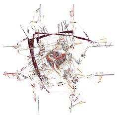 Quantification simple des connexions redondantes et mesure des infrastructures  Basic Quantification of Redundant Connections and Infrastructural Measures  Watercolor Paper 50x50cm_ Fabrice Clapiès_ 1996