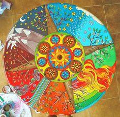 """Mesa Mandala """"4 estaciones y 4 elementos"""" - Maria Martha Diez Art -"""