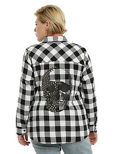 Black & White Plaid Studded Skull Girls Woven Button-Up Plus Size, BLACK